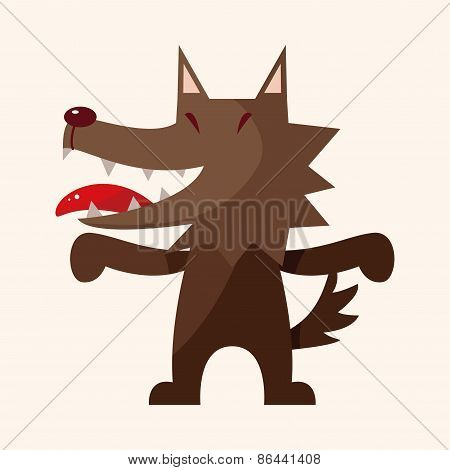 Animal Wolf Cartoon Theme Elements