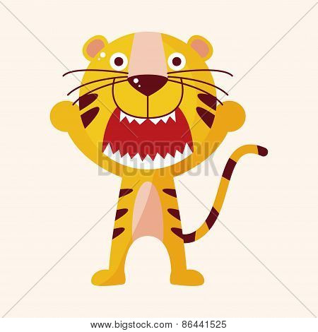 Animal Tiger Cartoon Theme Elements