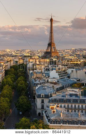 Eiffel Tower And Paris Rooftops Before Sunset, France