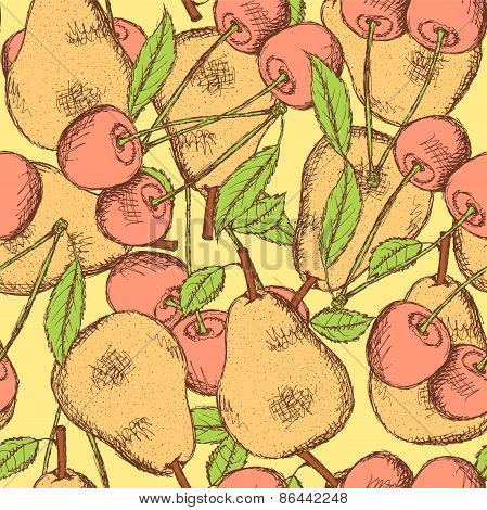 Sketch Cherry And Pear In Vintage Style