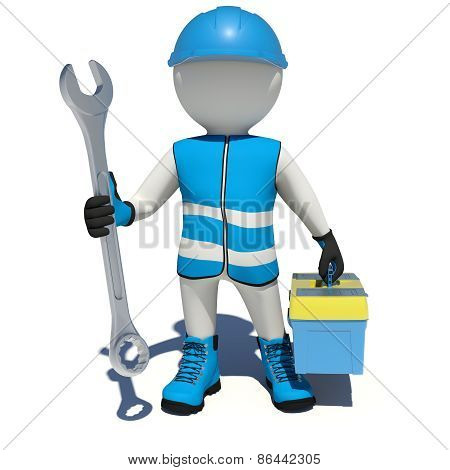 Worker in overalls holding wrench and tool box. Isolated