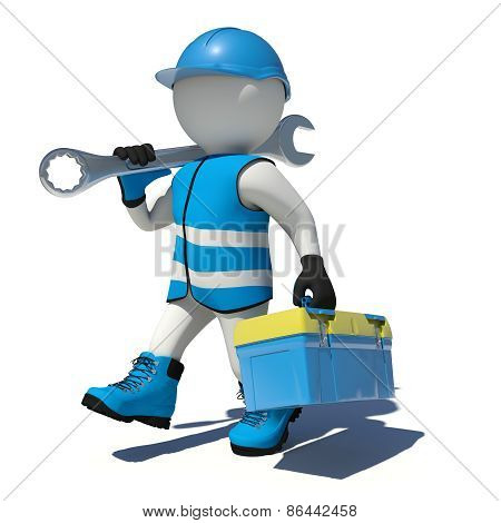 Walking worker in overalls holding tool box and wrench on his shoulder. Isolated