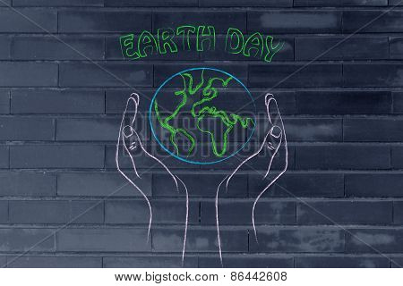 Hands Holding Globe, Concept Of Earth Day