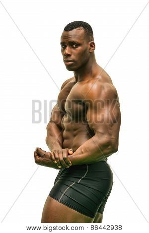 Handsome Black Male Bodybuilder Posing In Studio Isolated