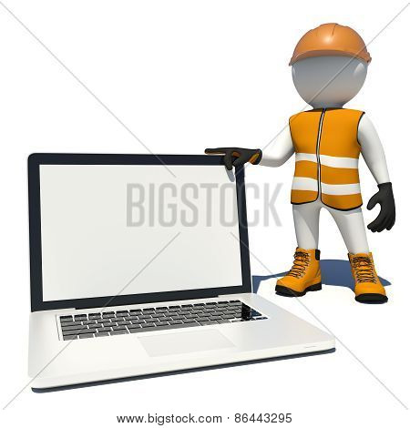 Worker in overalls holding laptop white empty screen. Isolated