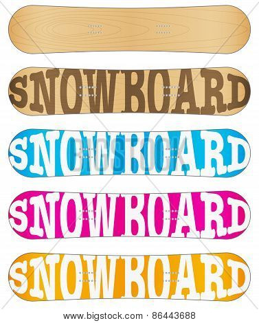 Snowboard sample flat symbols for design.