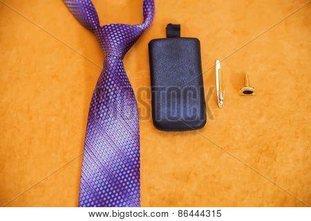 Man's Style, Tie, Phone, Cufflinks