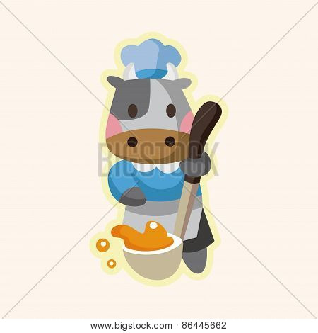 Animal Cow Chef Cartoon Theme Elements