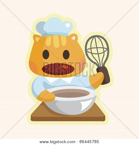 Animal Cat Chef Cartoon Theme Elements