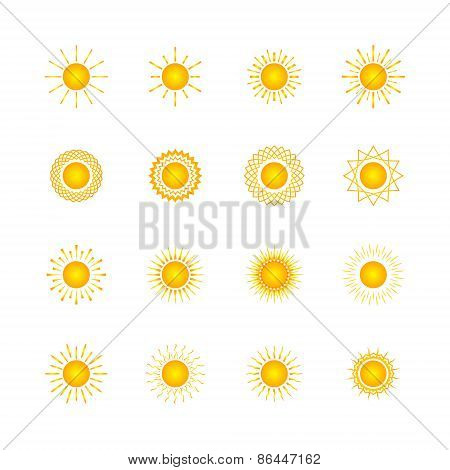 Set Of Different Images Of The Sun