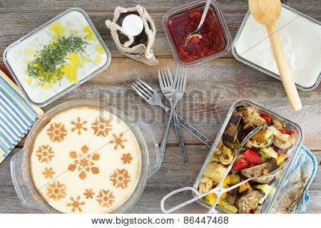 Picnic With Grilled Veggies And Semolina Dessert