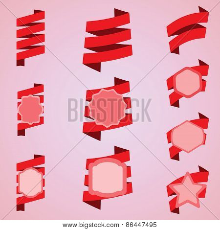 Vector Set Of Red Ribbons, Label, Sticker.