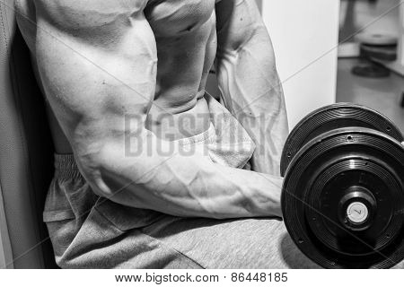 Strong and muscular guy with dumbbell.