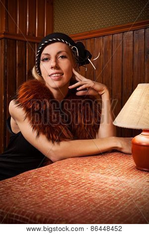 attractive girl in the room. old-style