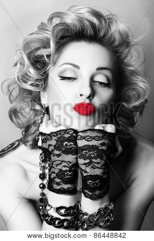 Retro Styled Black And White Portrait Of Sexy Adult Playful Woman