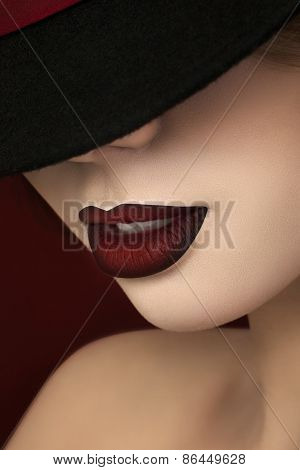 Close-up View Of Gorgeous Woman Lips
