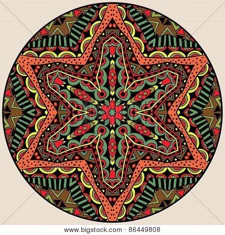 Ethnic Bright Round Ornament