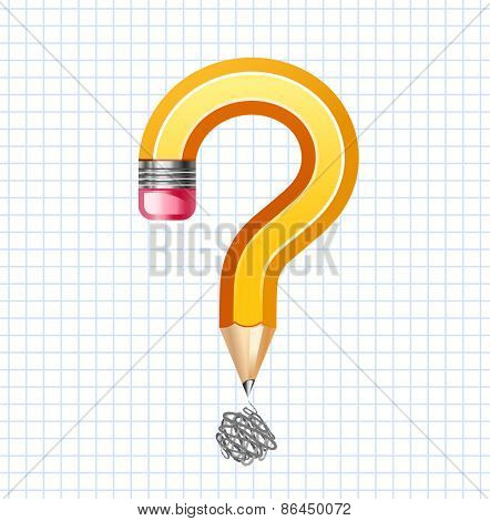 Question symbol made of pencil