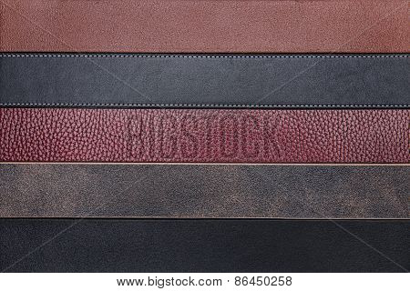 Natural Leather Belts Close-up Texture Background