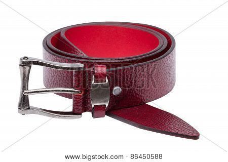 Crimson Men Leather Belt Isolated On White