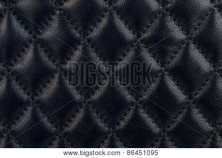 Black Quilted Leather Close-up