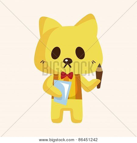 Animal Cat Waiter Cartoon Theme Elements