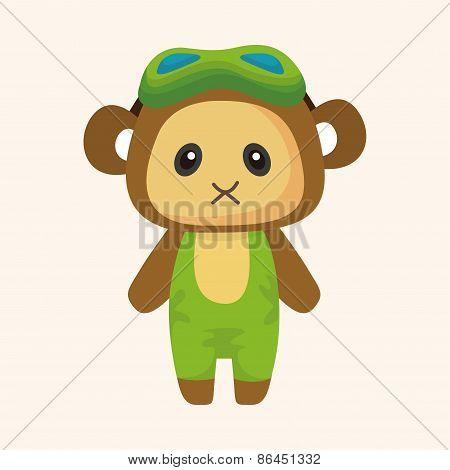 Animal Monkey Summer Cartoon Theme Elements