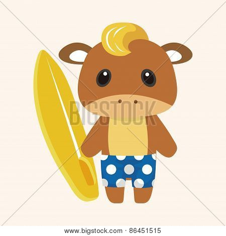 Animal Rattle Summer Cartoon Theme Elements