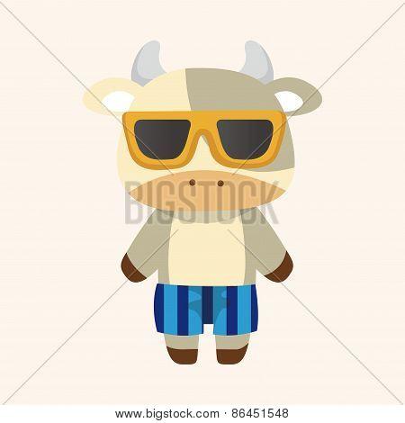 Animal Cow Summer Cartoon Theme Elements