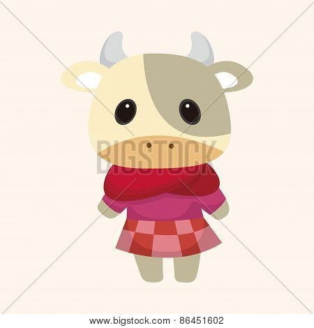 Animal Cow Winter Cartoon Theme Elements