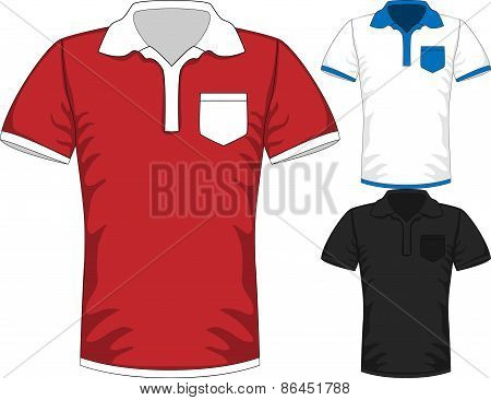 Vector Mens short sleeve t-shirt polo design templates