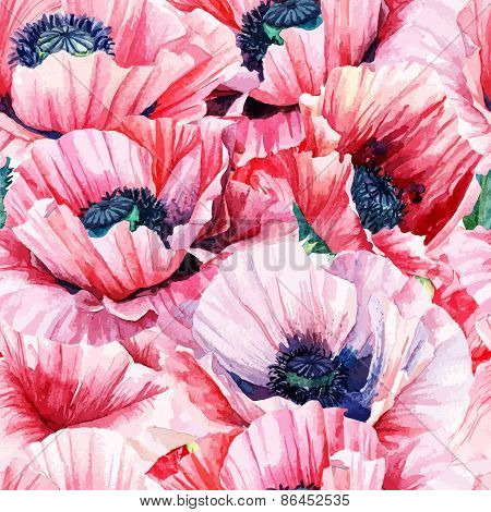 Seamless Pattern Of Vector Watercolor Pink Poppies.