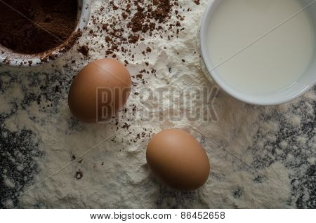 Home Eggs, Flour And Cocoa Powder