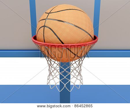 Basketball Ball Falling Into A Ring Close-up