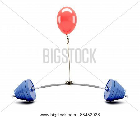 Red Balloon Lifting A Barbell