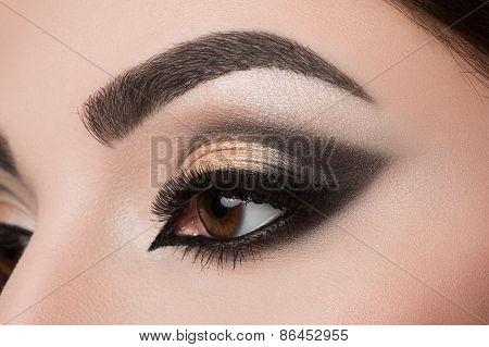 Close-up Of Woman Eye With Arabic Makeup