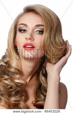 Portrait Of Beautiful Woman Doing Up Her Hair