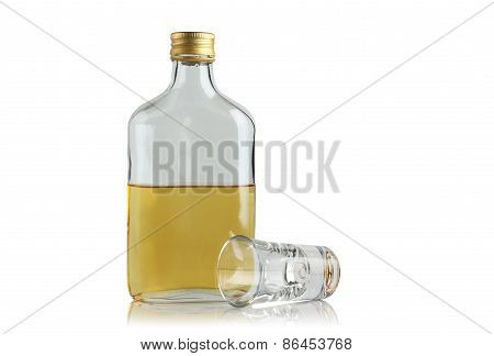 Flat Bottle With Booze And Drink