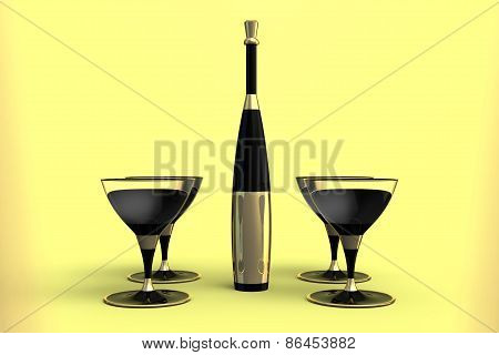 Martini Glasses And Bottle With Gold Label Without A Name And A Gold Cap, Against A Plain Background