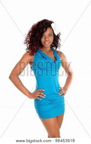 Pretty Woman In Blue Dress.