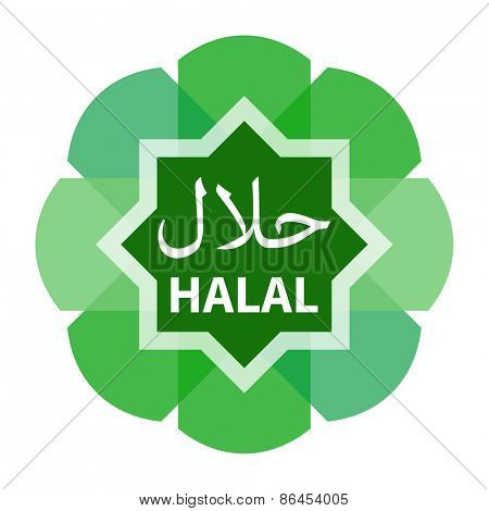 Green modern Halal food product label.