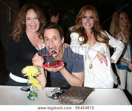 LOS ANGELES - MAR 26:  Catherine Bell, Christian LeBlanc, Tracey Bregman at the Young & Restless 42nd Anniversary Celebration at the CBS Television City on March 26, 2015 in Los Angeles, CA