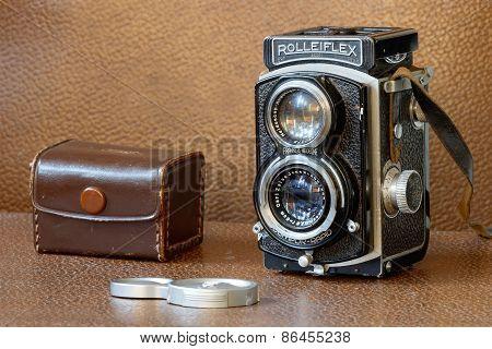 Retro Camera Rollieflex And Lenscap