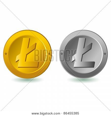 Litecoin isolated in white