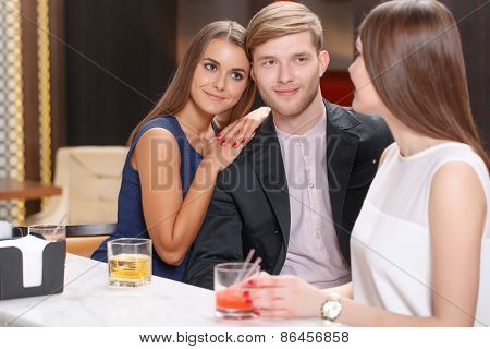 Meeting with friends in the bar