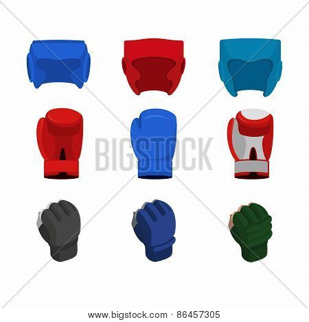Boxing icon set. Boxing gloves, helmet, gloves  mix fight, MMA