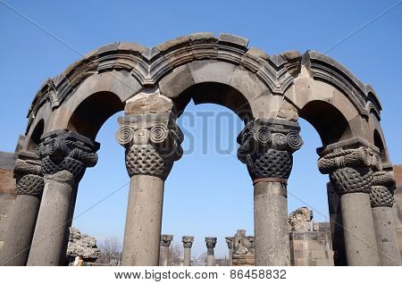 Ruins Of Zvartnots (celestial Angels) Cathedral ,armenia,unesco Heritage Site