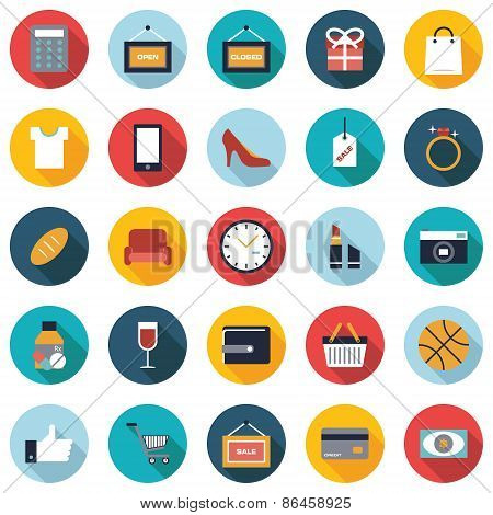 Set of 25 colorful shopping flat icons.