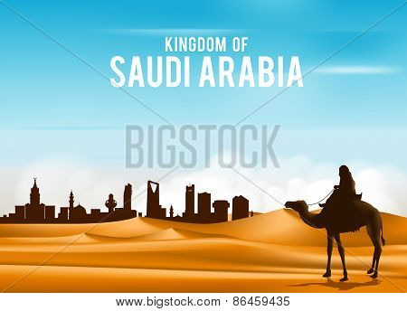 Arab Man Riding in Camel in Wide Desert Sands