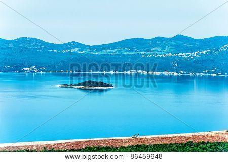 Croatian Coastline Along The Adriatic Sea And Small Islands